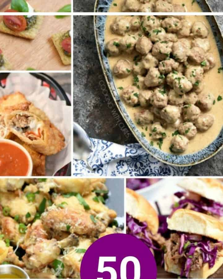 New Year's Eve Appetizers collage with caprese triscuit bites, Swedish meatballs, pizza rolls, chicken wings and Hawaiian pork sliders.