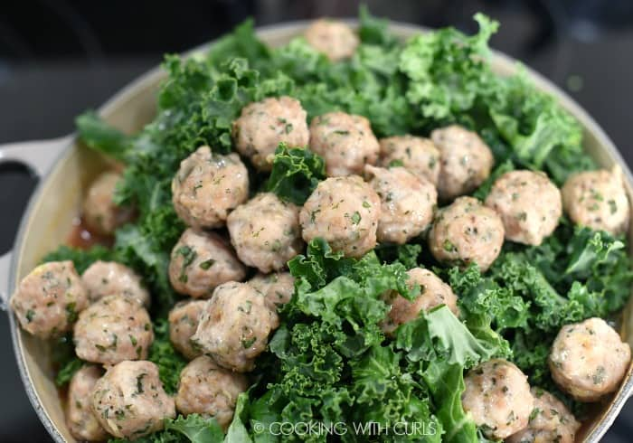 Cooked meatballs, chopped kale, tomatoes and chicken stock added to a large soup pot