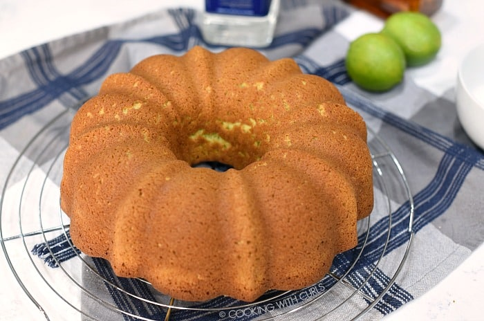 Baked Margarita Bundt Cake on a wire cooling rack.