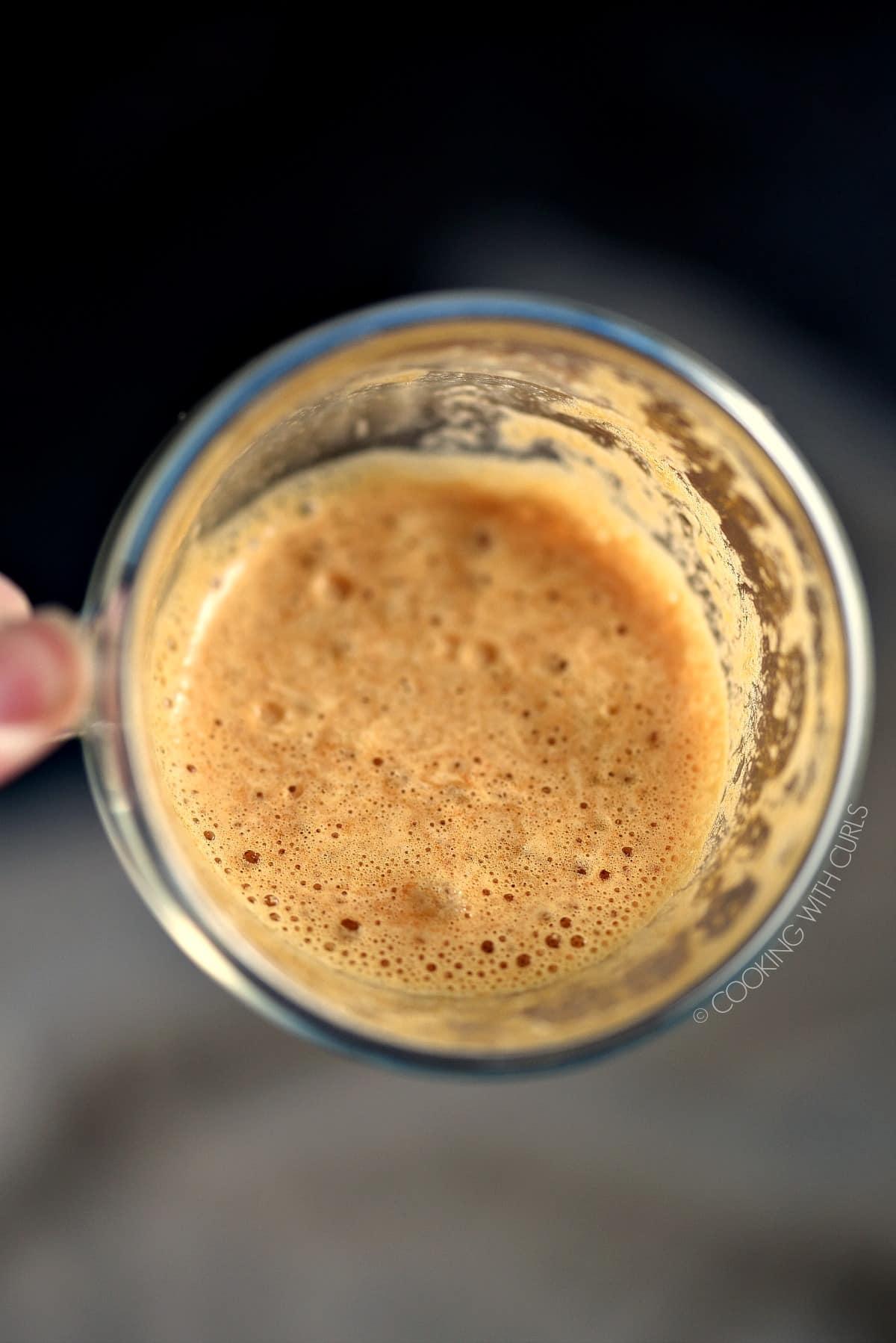 Creamy foam that tops a Whipped Dalgona Coffee.