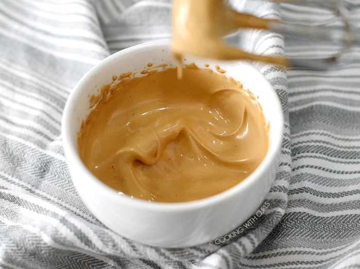 Light and fluffy whipped coffee mixture in a small white bowl.