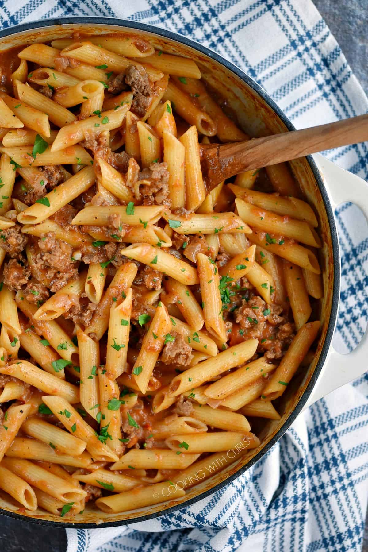Looking down on a skillet filled with Sloppy Joe Pasta.
