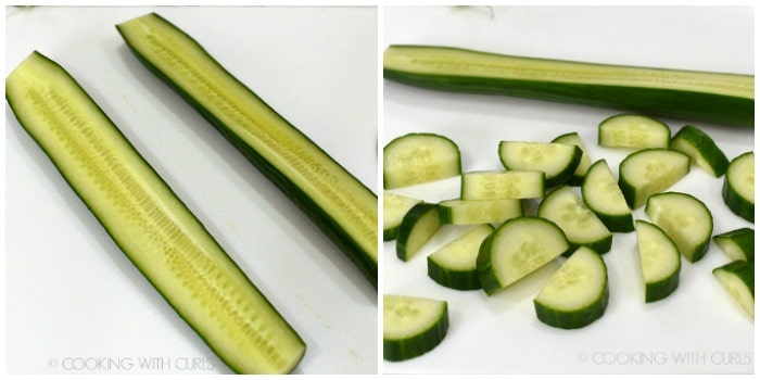 A picture collage with a cucumber sliced in half on the left and cut into half moons on the right.
