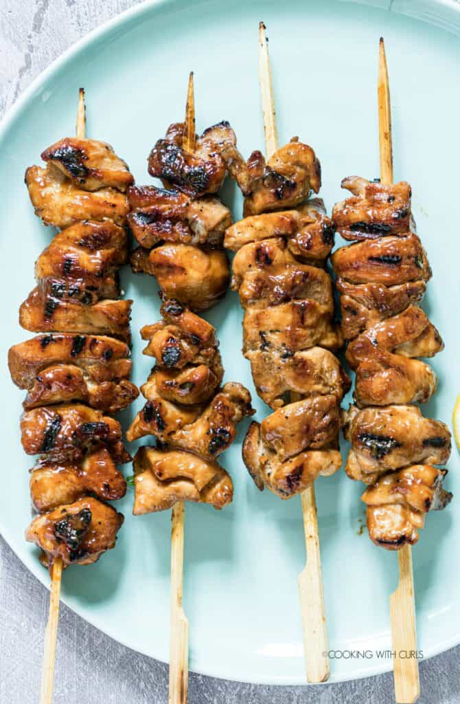 Chicken Skewers grilled and resting.