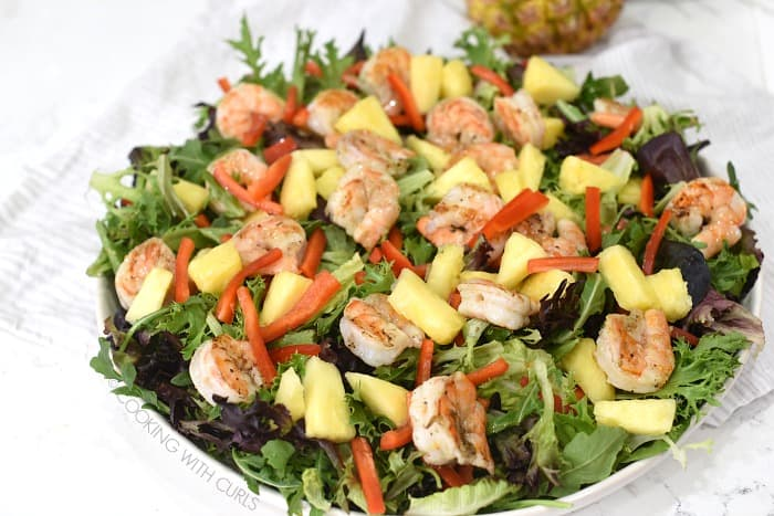 Mixed greens topped with grilled shrimp, pineapple chunks, and thin red pepper strips.