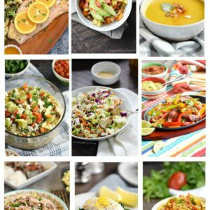 Whole 30 Game Plan graphic with nine images of food.