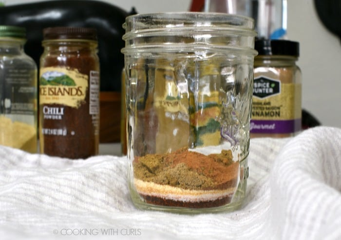 chili powder, salt, garlic, onion, cumin, coriander and cinnamon layered in a glass jar with bottles of chili, cinnamon and garlic in the background.