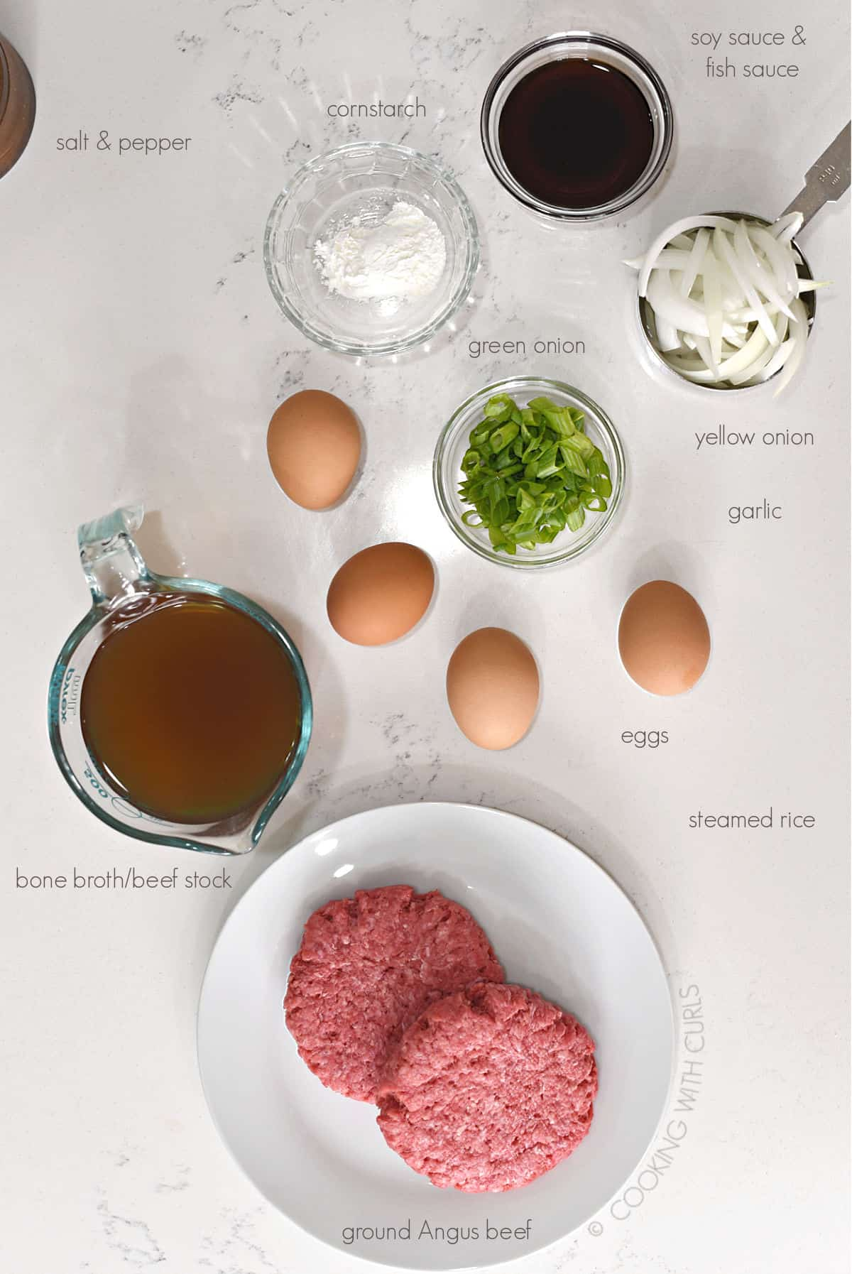 Hawaiian Loco Moco Recipe Ingredients image with labels.