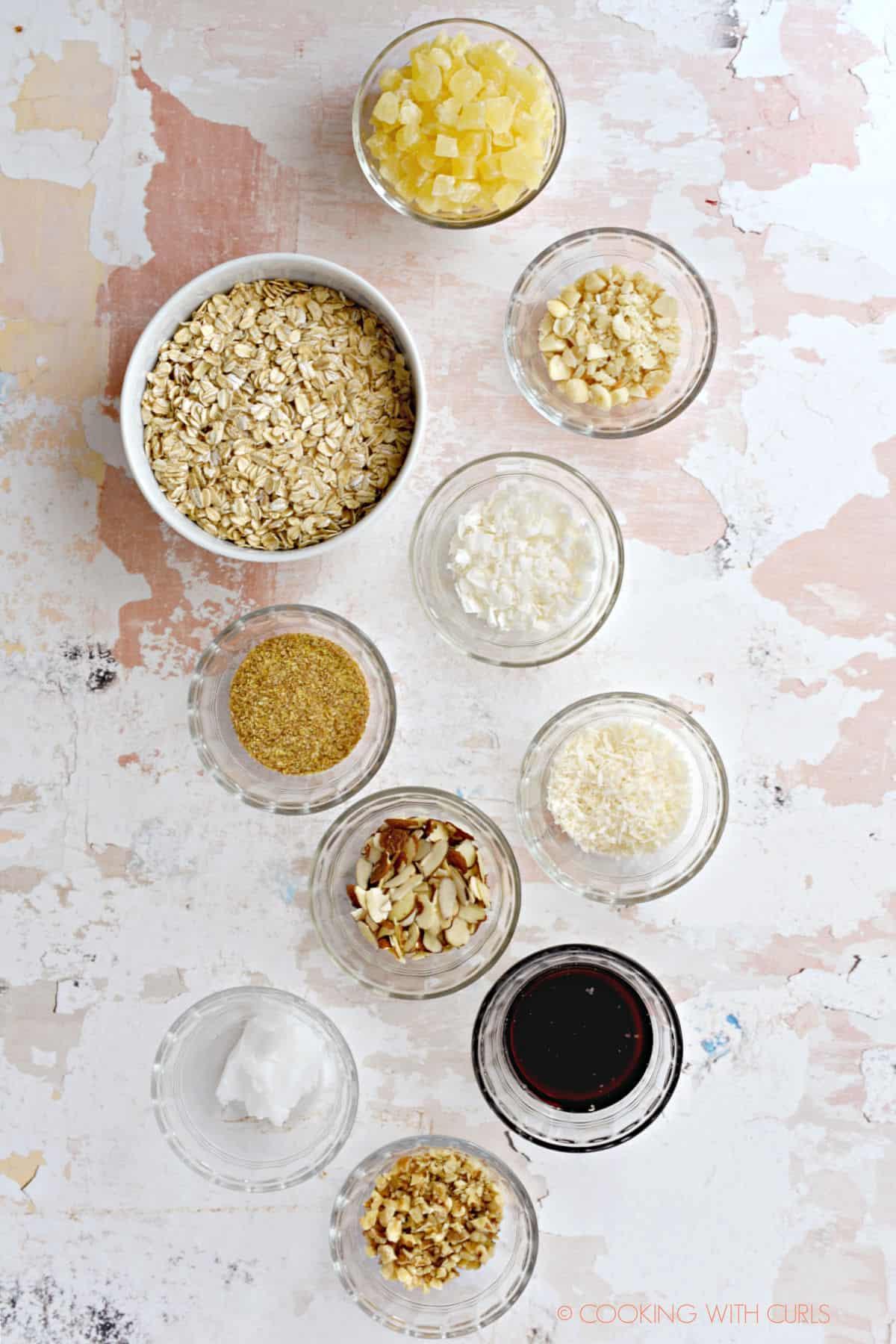 Pina Colada Granola ingredients in separate bowls.