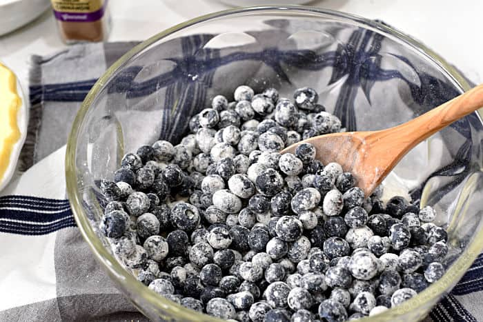 fresh blueberries tossed together with sugar in a large glass bowl.