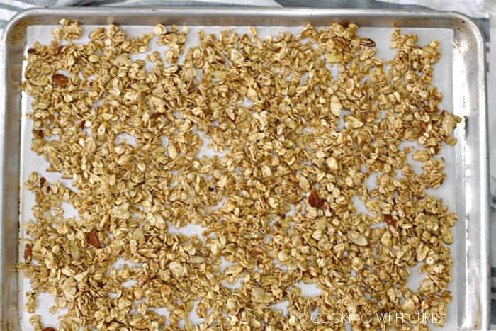 pina colada granola on a baking sheet.