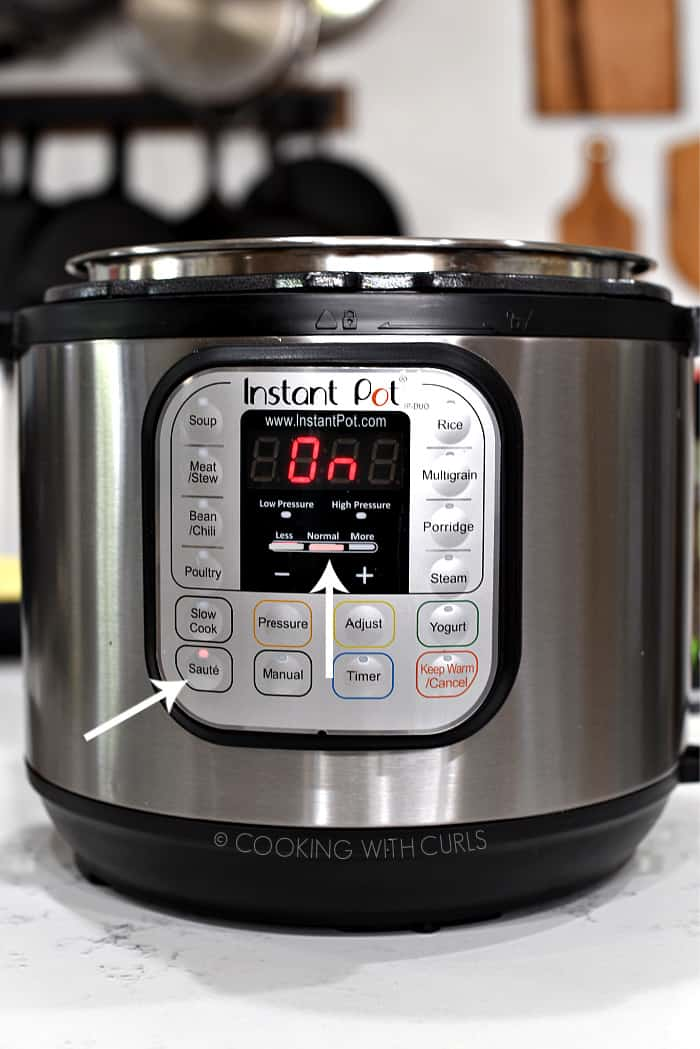 Instant Pot set to Saute on Normal.