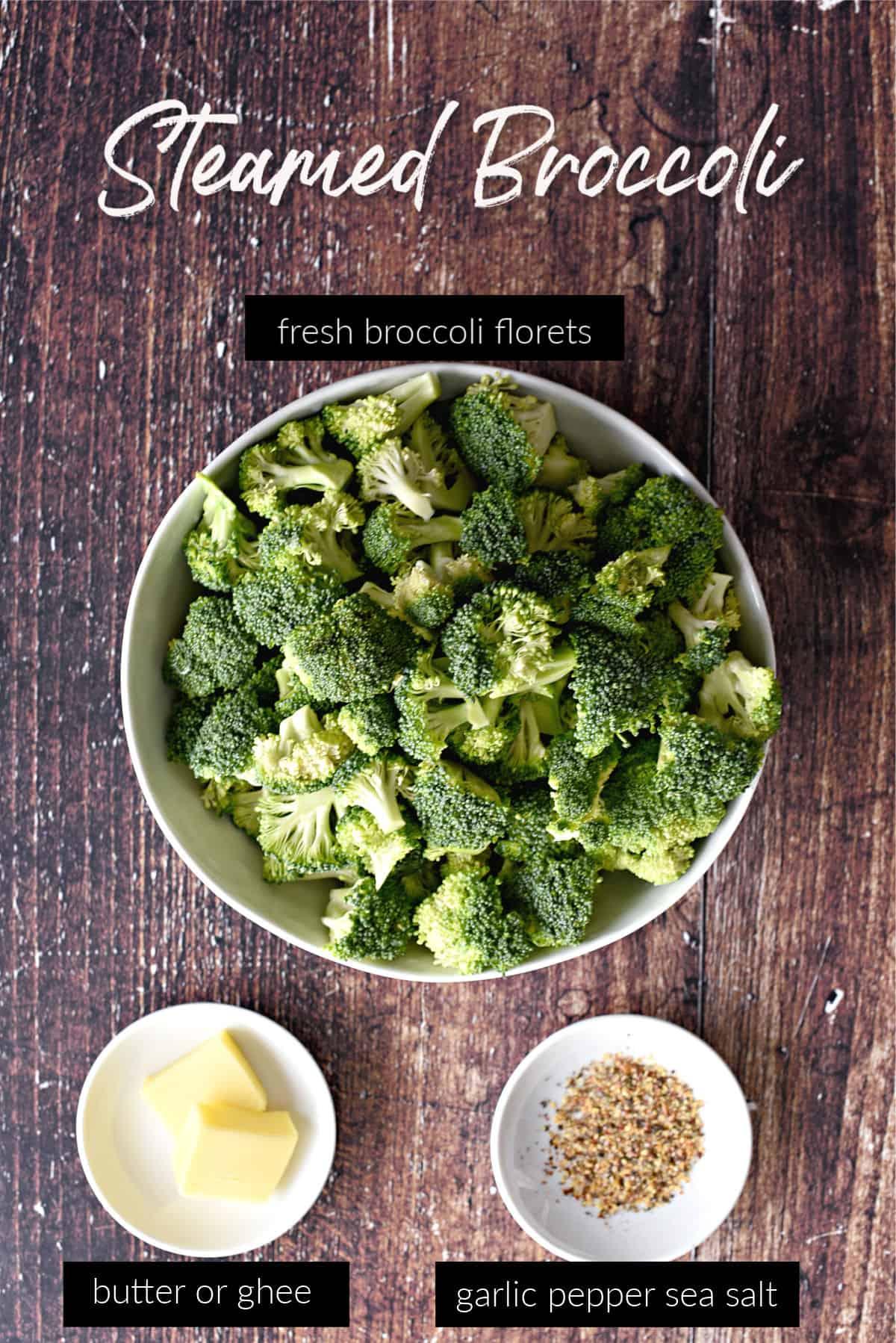 a large white bowl filled with fresh broccoli florets and two smaller bowls with two tablespoons of butter and garlic pepper sea salt seasoning with title graphics.