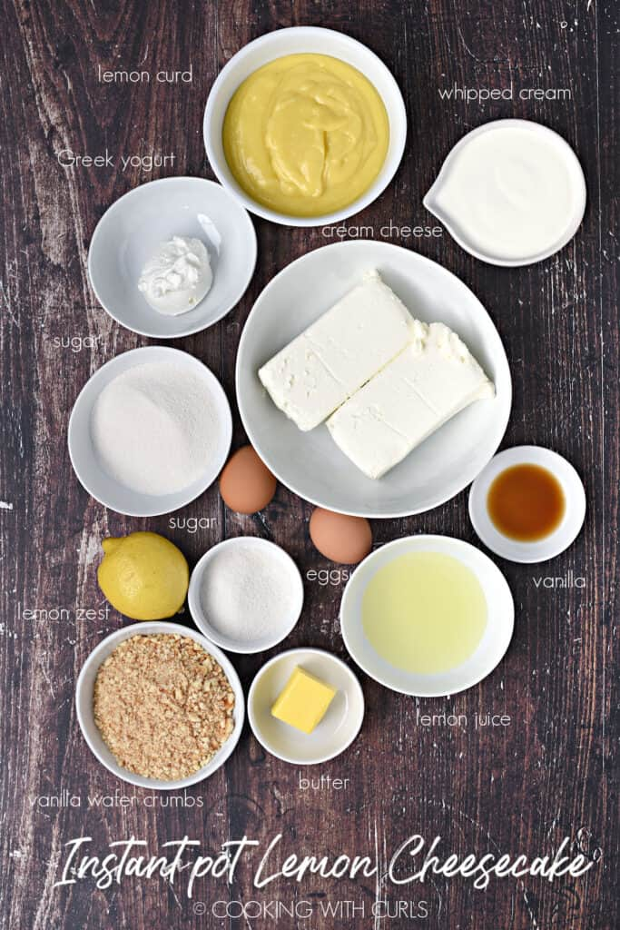 Cream cheese, sugar, yogurt, vanilla, eggs, vanilla wafer crumbs, and lemon ingredients to make cheesecake.