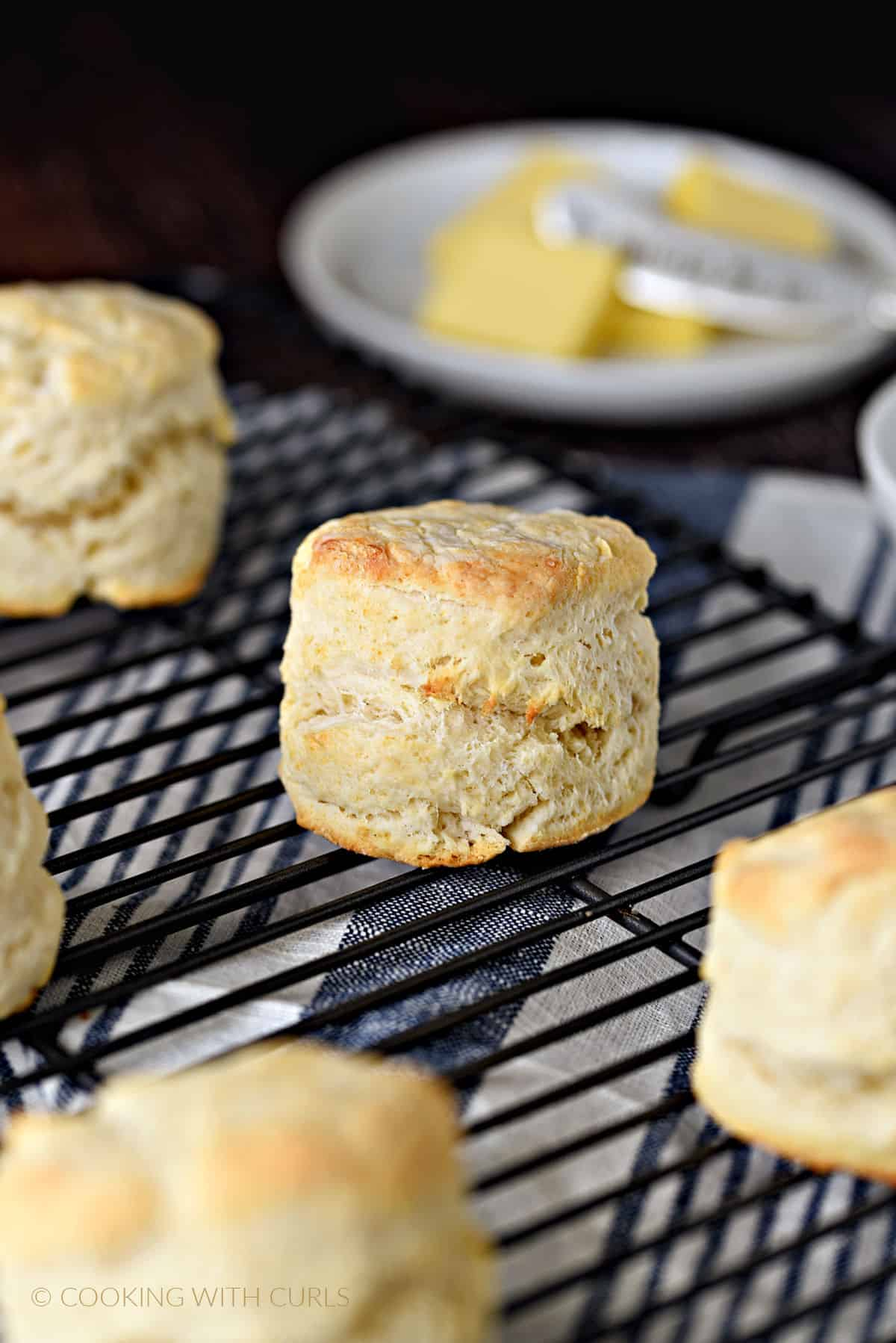 a close up image of a homemade buttermilk biscuit on a black wire cooling rack surrounded by four other biscuits and a white plate with butter slices.
