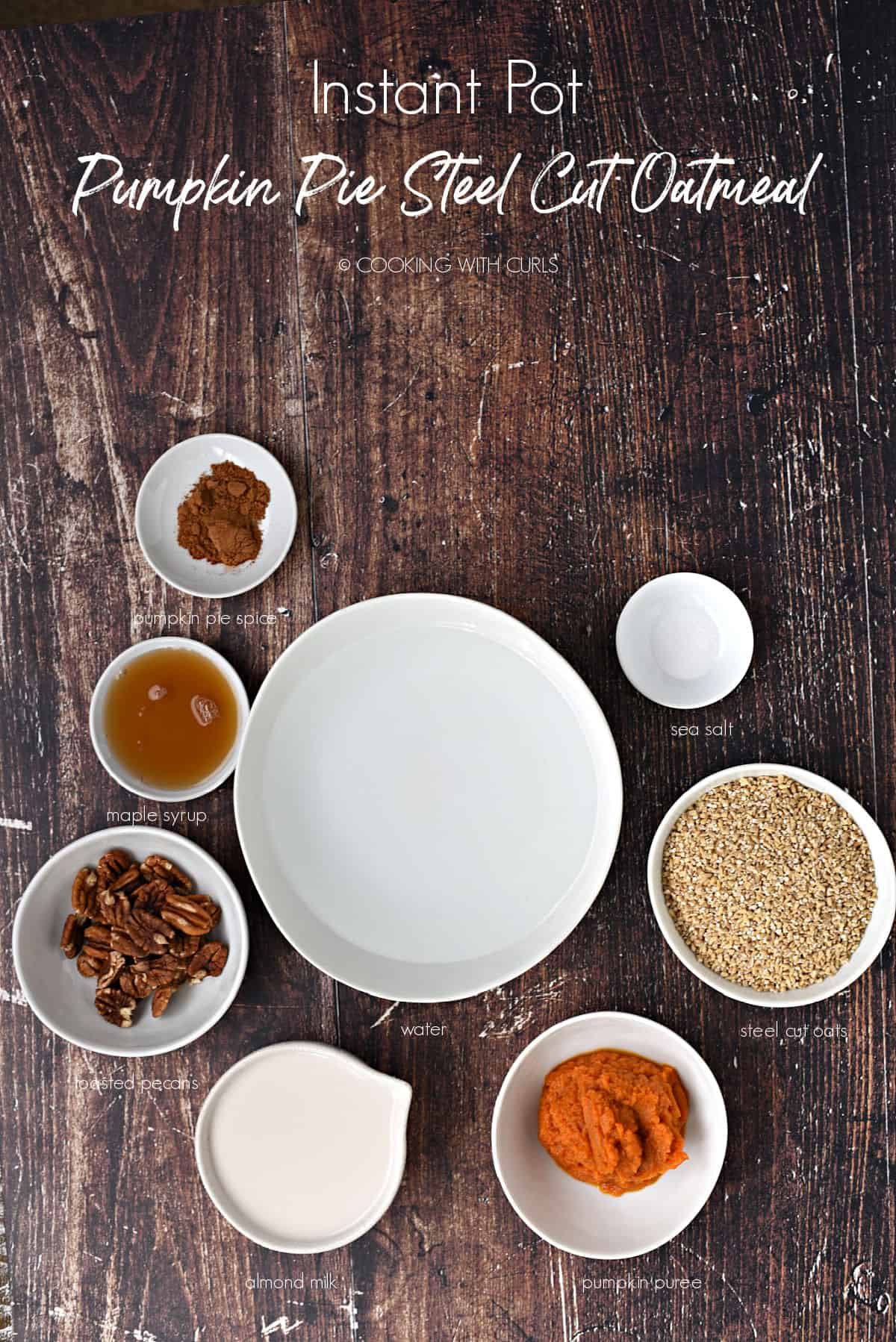 Looking down on white bowls with pumpkin pie spice, maple syrup, pecans, almond milk, pumpkin puree, steel cut oats, sea salt and water sitting on a wooden background.