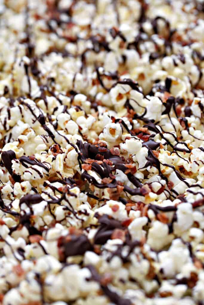 Close up of a pan of Instant Pot Chocolate Bacon Popcorn.
