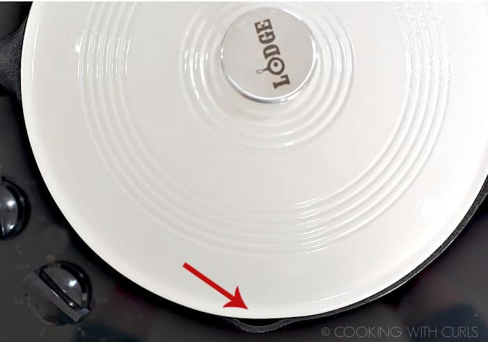 A white lid covering a cast iron skillet with a red arrow showing where the steam vents.