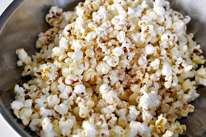 Popcorn tossed with bacon grease and seasoning salt.