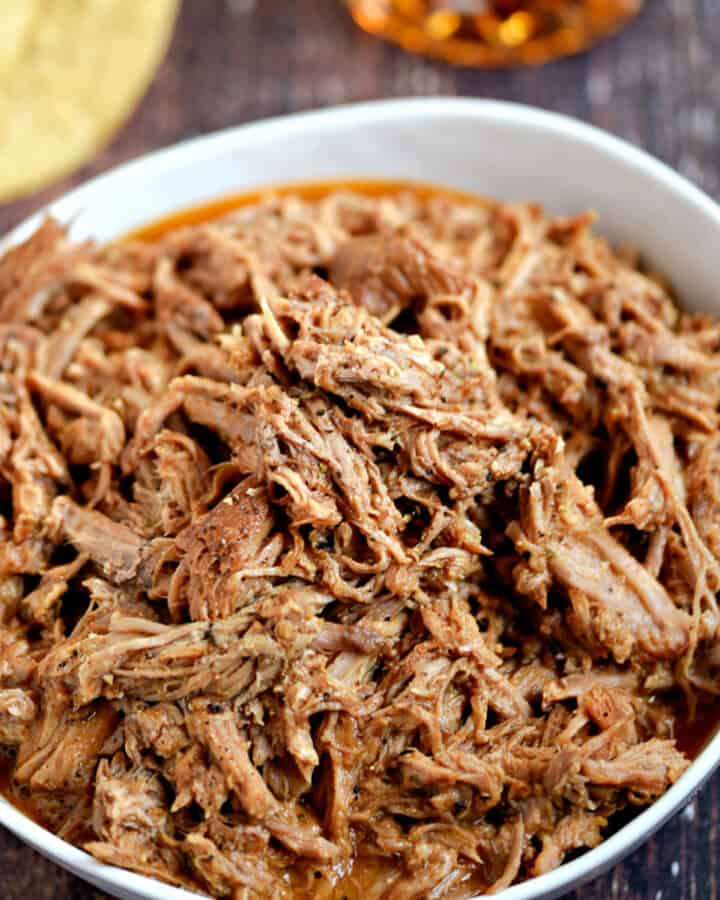 Bowl of Instant Pot Pulled Pork.