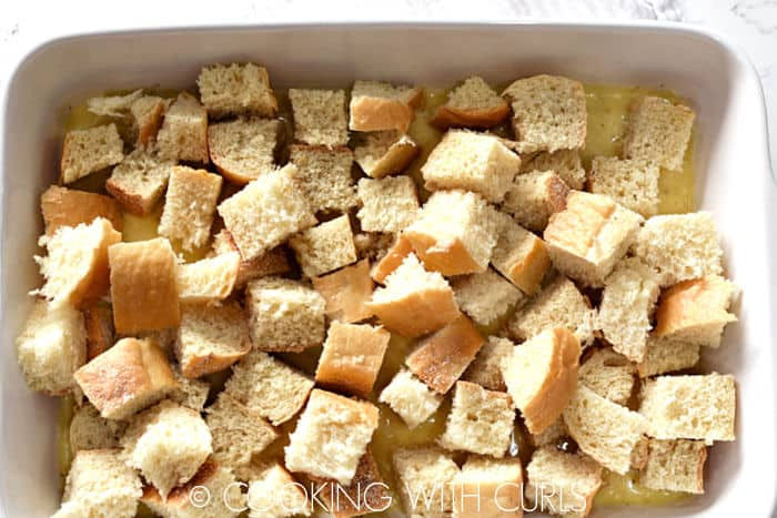 Bread cubes layered on top of the custard mixture.