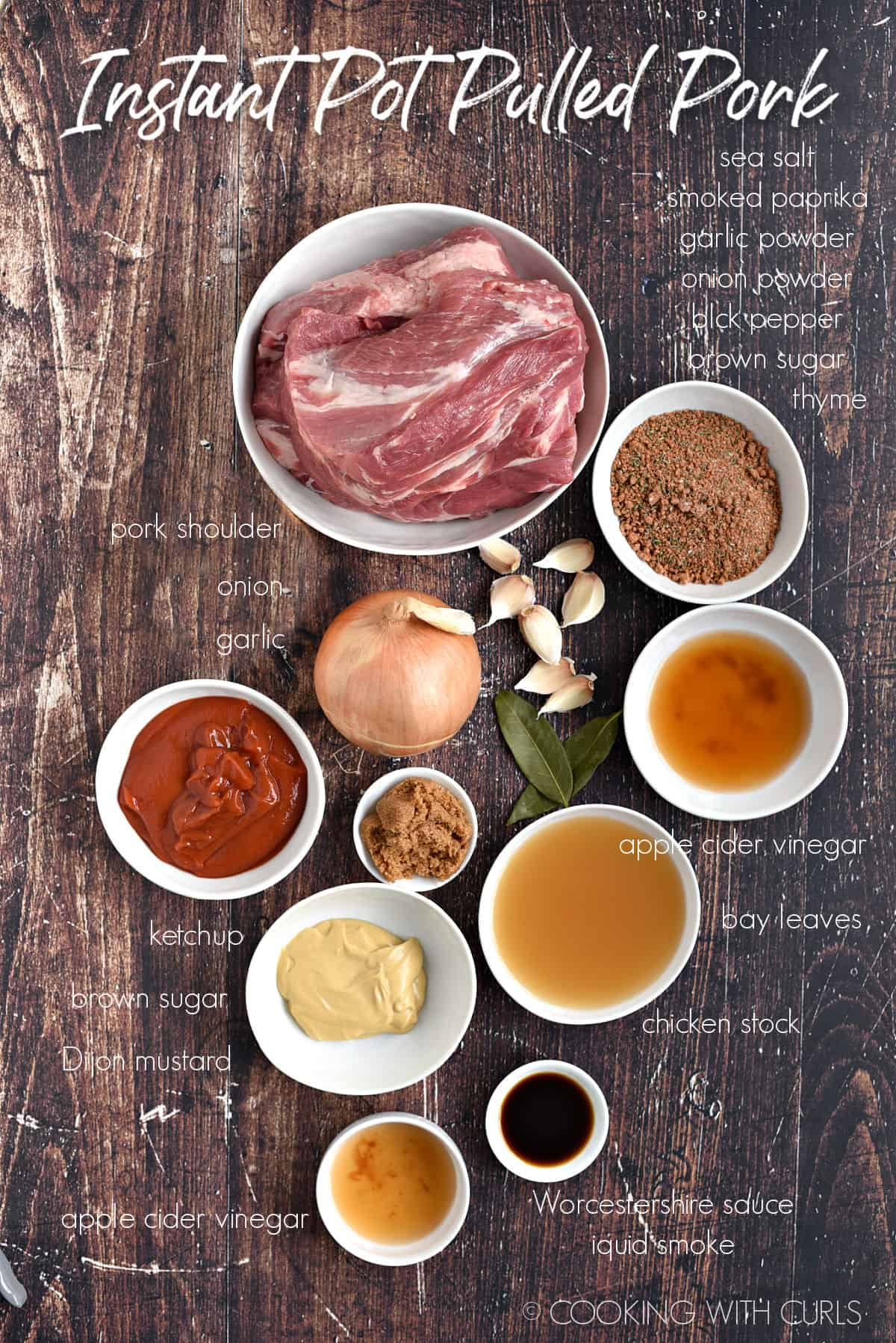 Ingredients to make Instant Pot Pulled Pork  in white bowls.