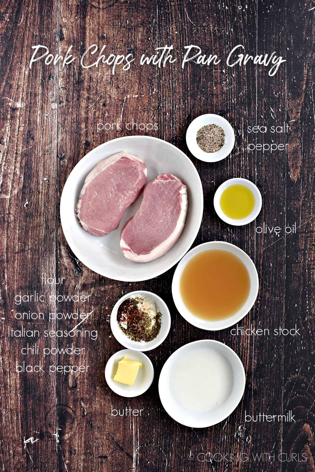 Ingredients to make pork chops with pan gravy all in separate white bowls.