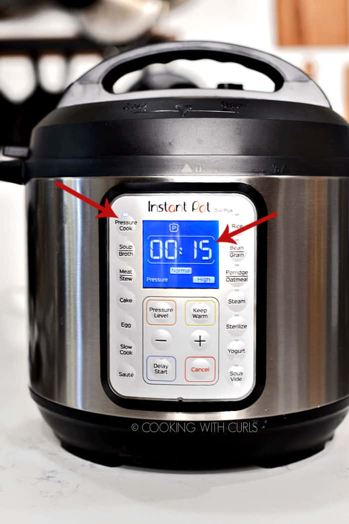 Instant Pot set for 15 minutes Normal High pressure on the Pressure cook setting.