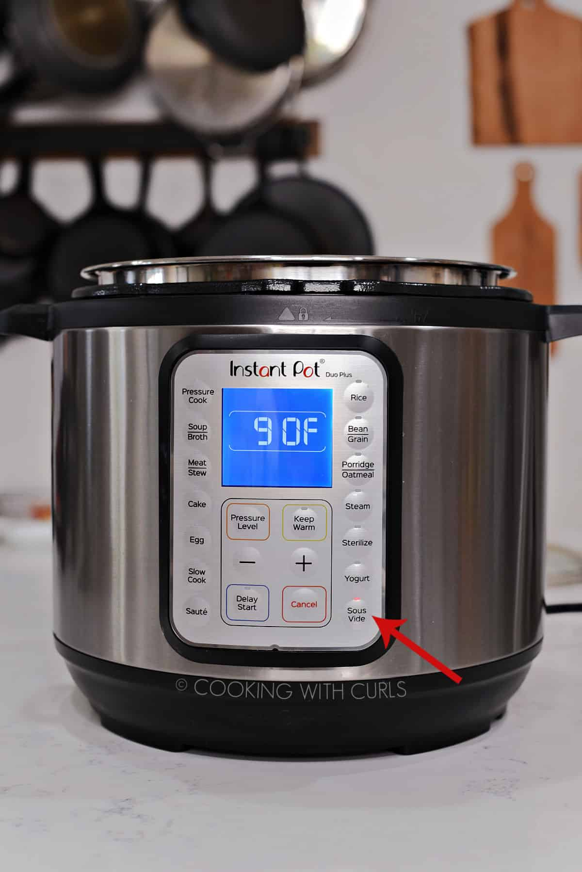 Instant Pot set to 90 degrees on the Sous Vide setting with a red arrow pointing to the button.