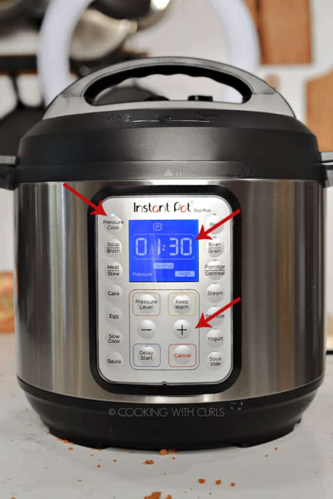 Instant Pot set to one hour and 30 minutes with arrows pointing at Pressure Cook, the time and + button.
