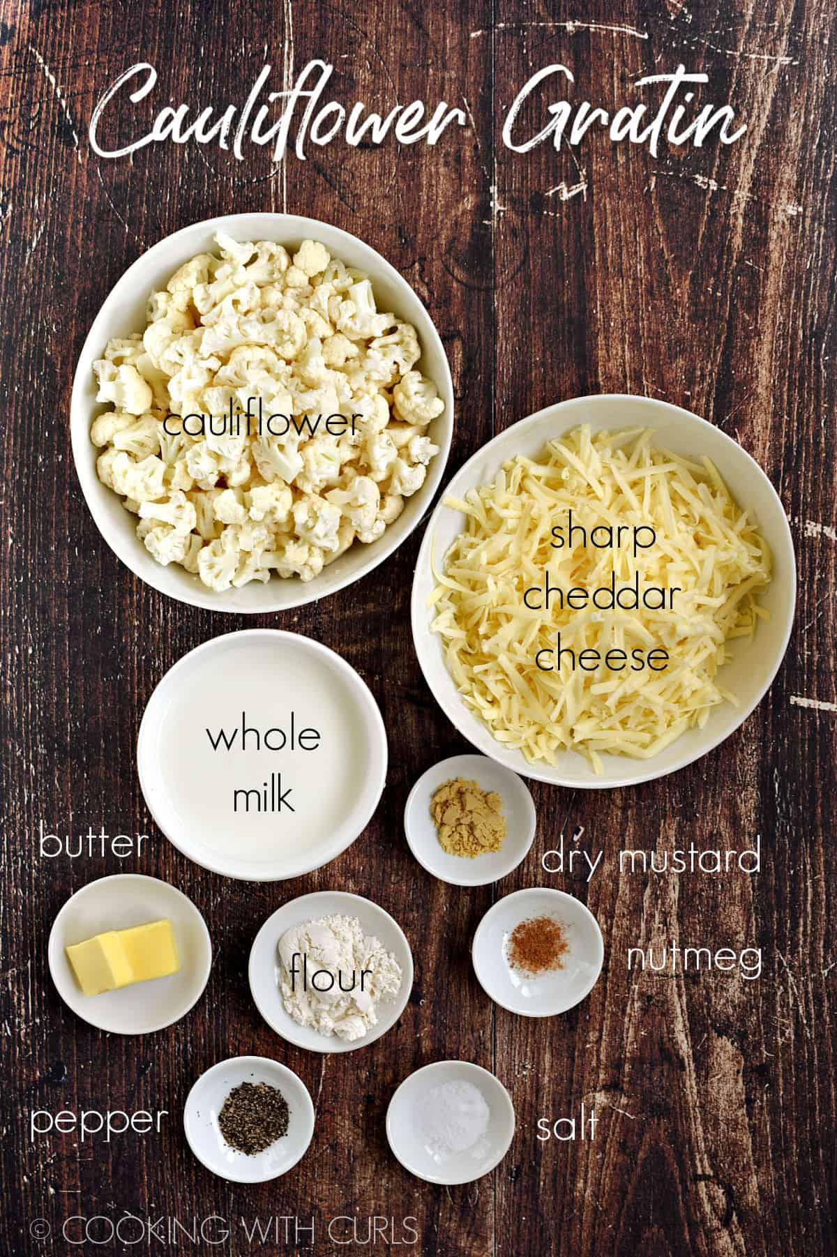 Cauliflower Gratin ingredients in white bowls.