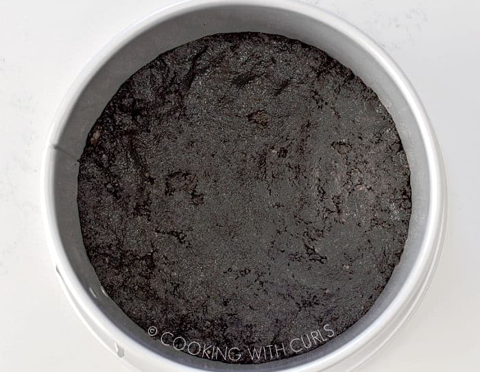 Cookie crumb mixture pressed into the bottom of a springform pan.