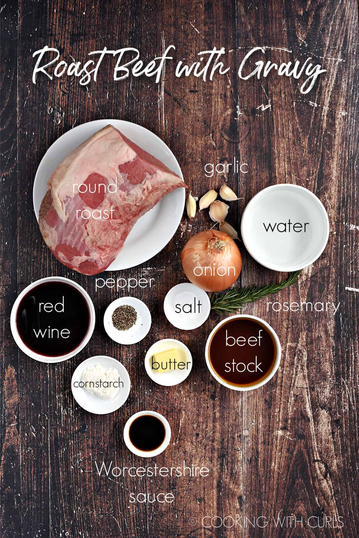 Ingredients to made roast beef with gravy in white bowls on a wood background.