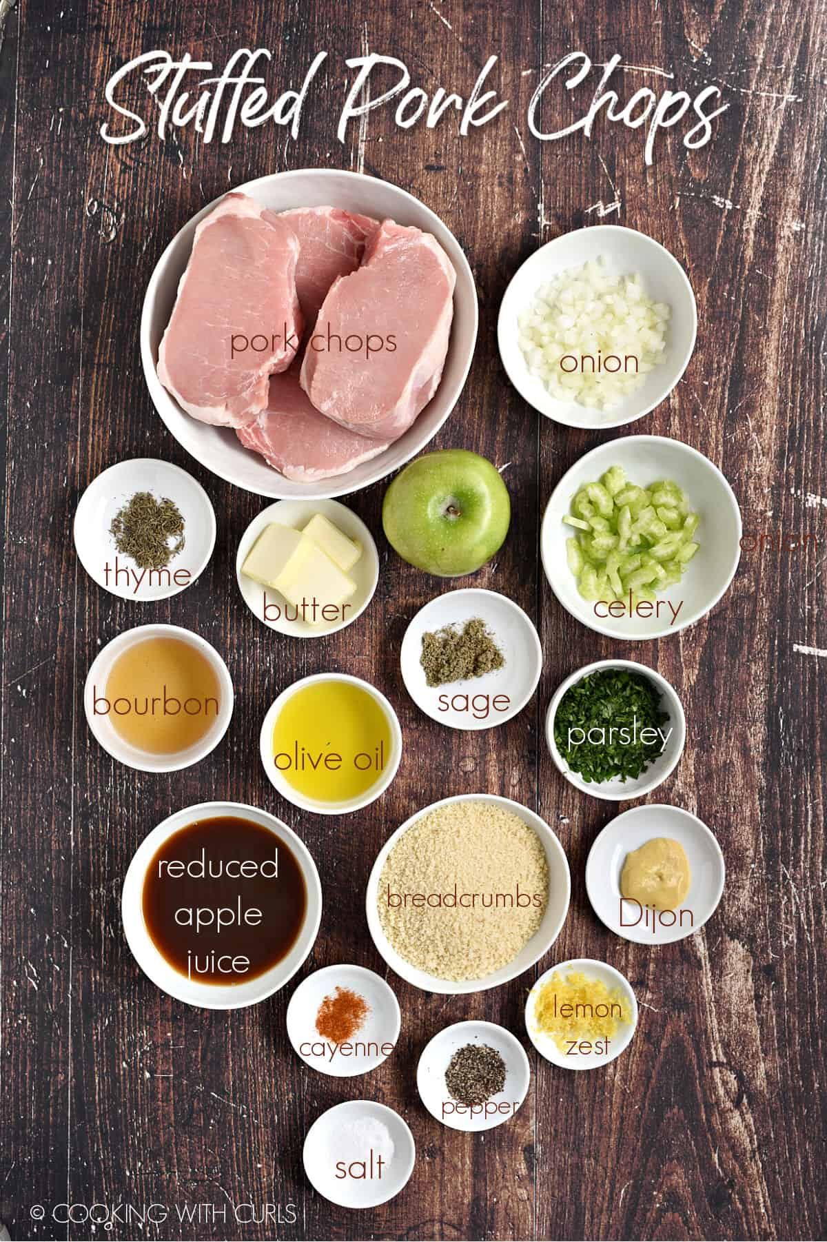 Ingredients to make Stuffed Pork Chops in white bowls.