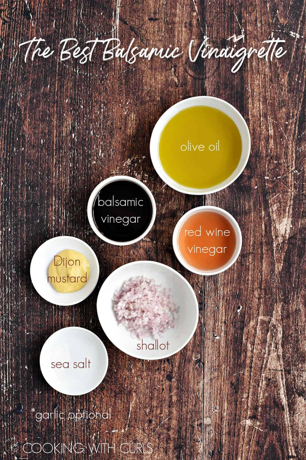 Ingredients to make The Best Balsamic Vinaigrette.