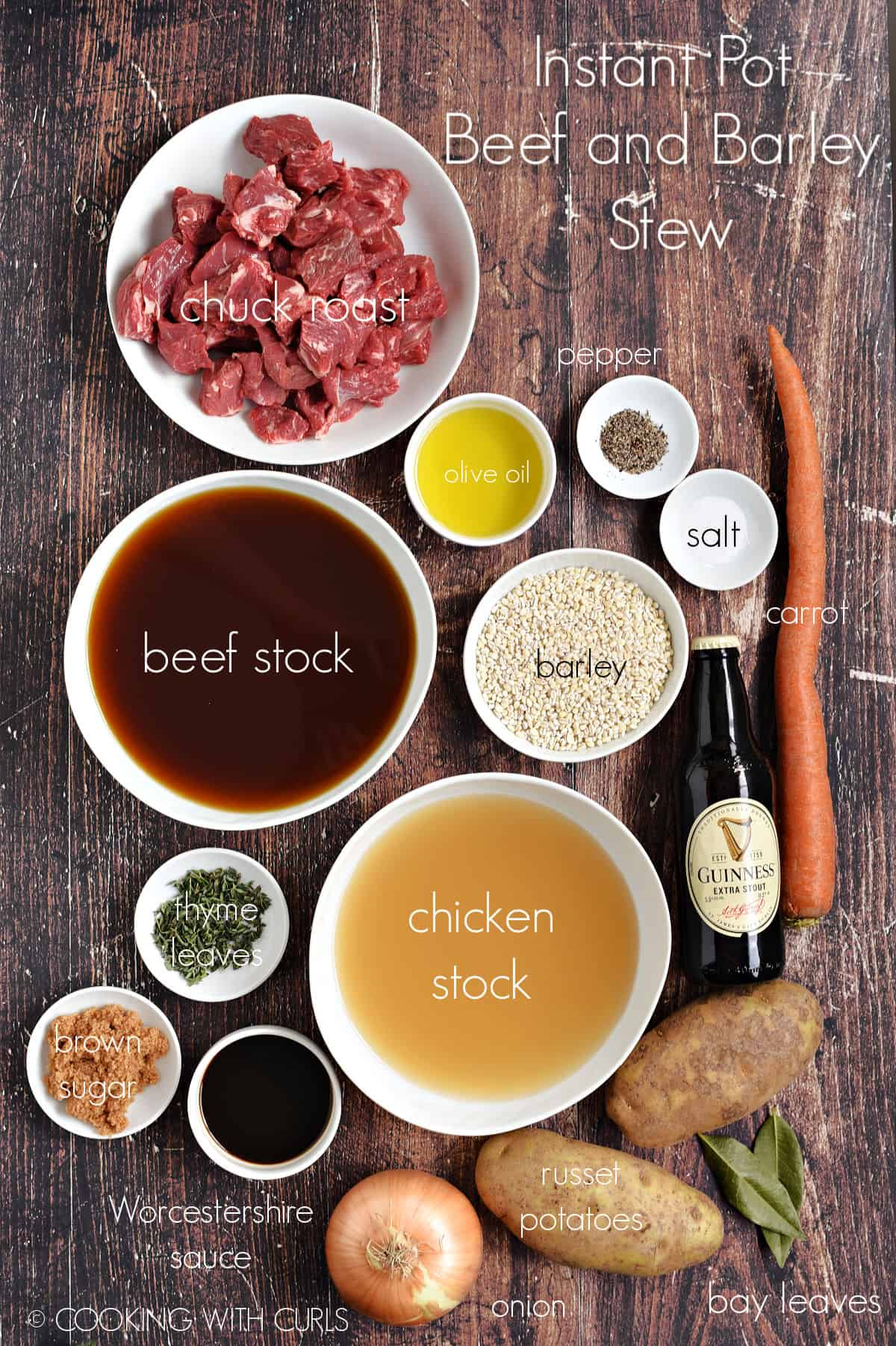 Instant Pot Beef and Barley Stew ingredients in white bowls.