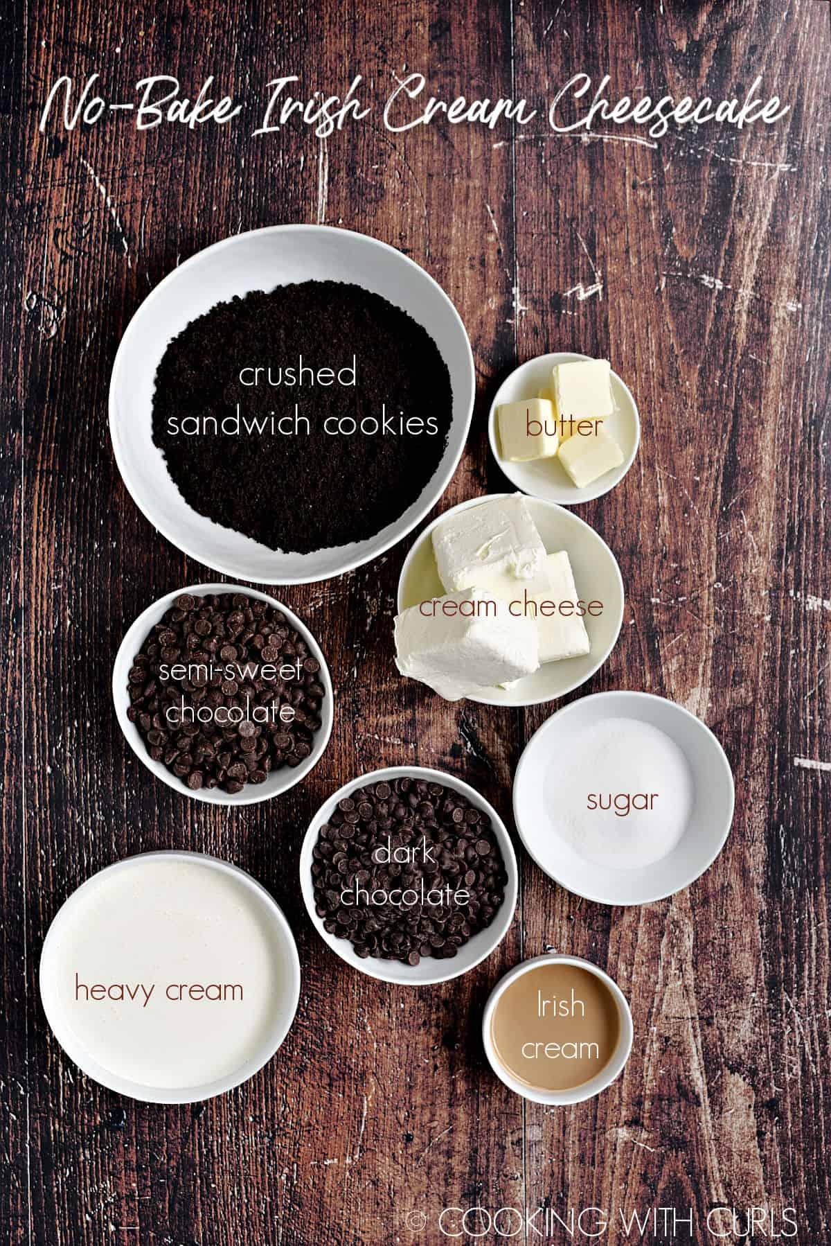No-Bake Irish Cream Cheesecake ingredients in white bowls.