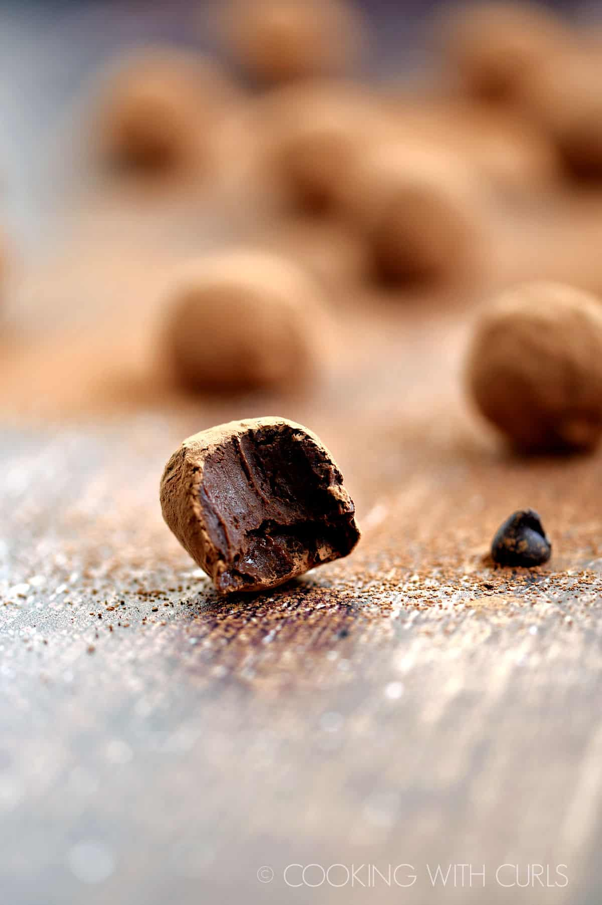 The inside of a Red Wine Chocolate Truffle.