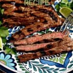Grilled skirt steak on a platter with lime wedges and cilantro leaves with title graphic across the top.