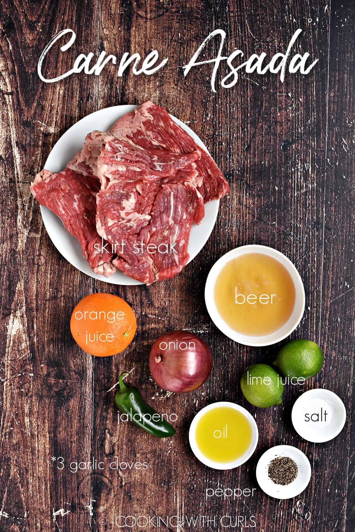 Carne Asada ingredients.