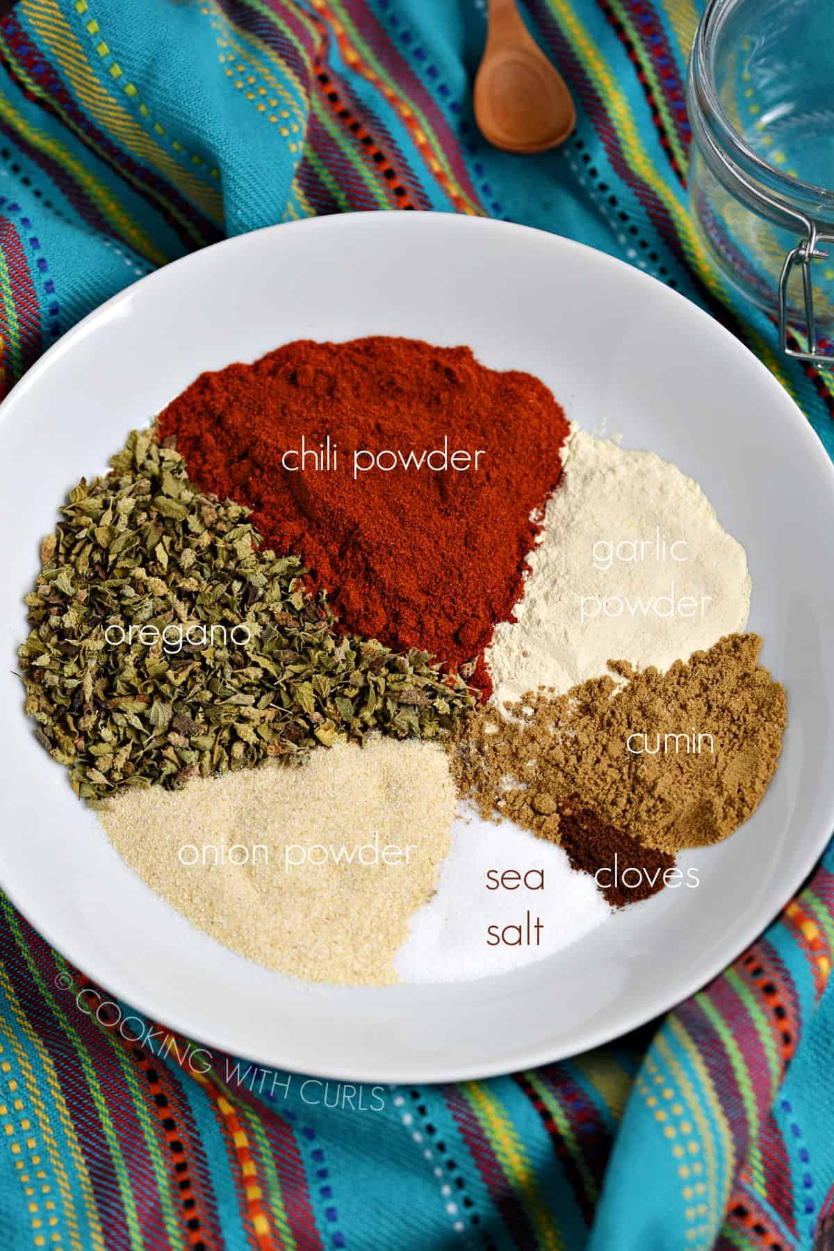 Chili powder, oregano, garlic powder, cumin, onion powder, cloves and sea salt in a white bowl.