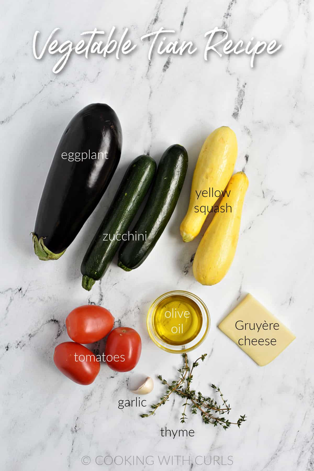 Eggplant, zucchini and yellow squash, three tomatoes, thyme, garlic, olive oil and cheese for a Vegetable Tian Recipe.