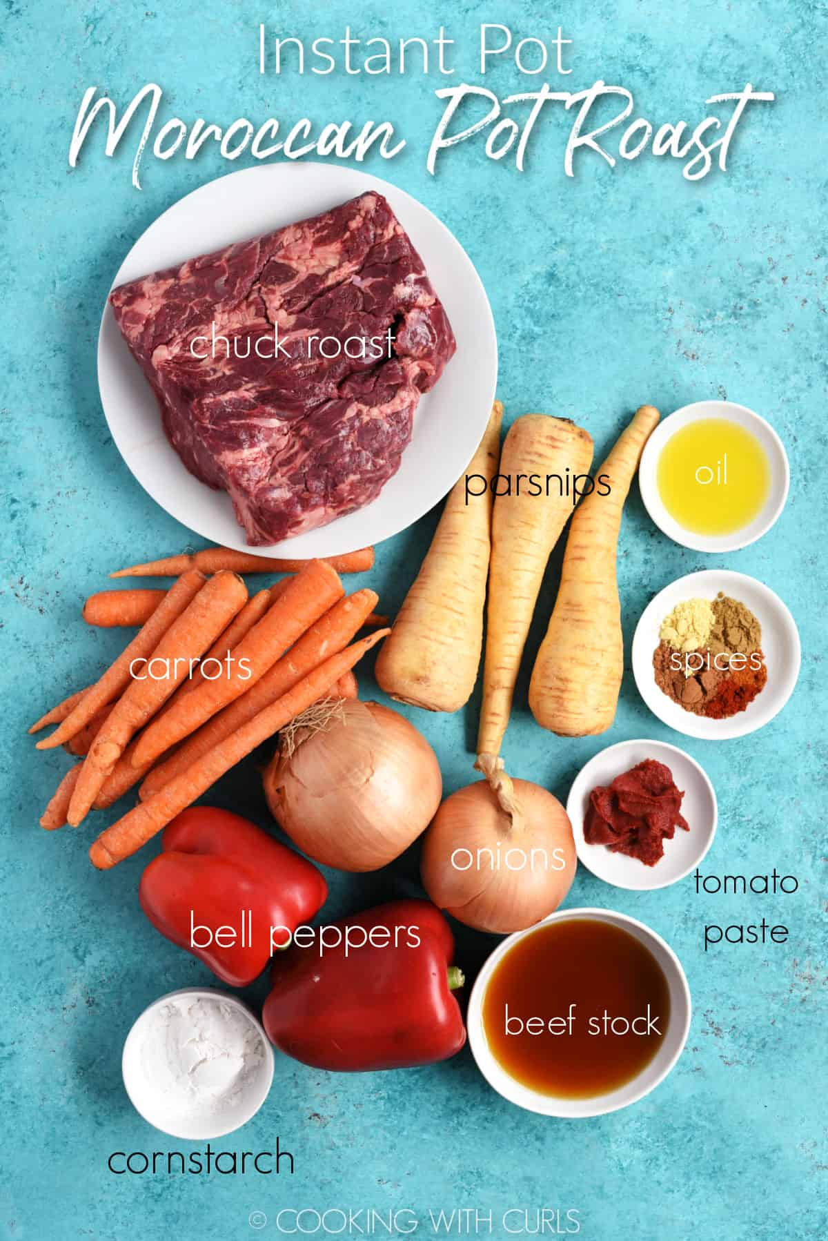 Chuck roast, oil, spices, three parsnips, a bunch of carrots, two onions, two bell peppers, tomato paste, beef stock and cornstarch on a turquoise background.