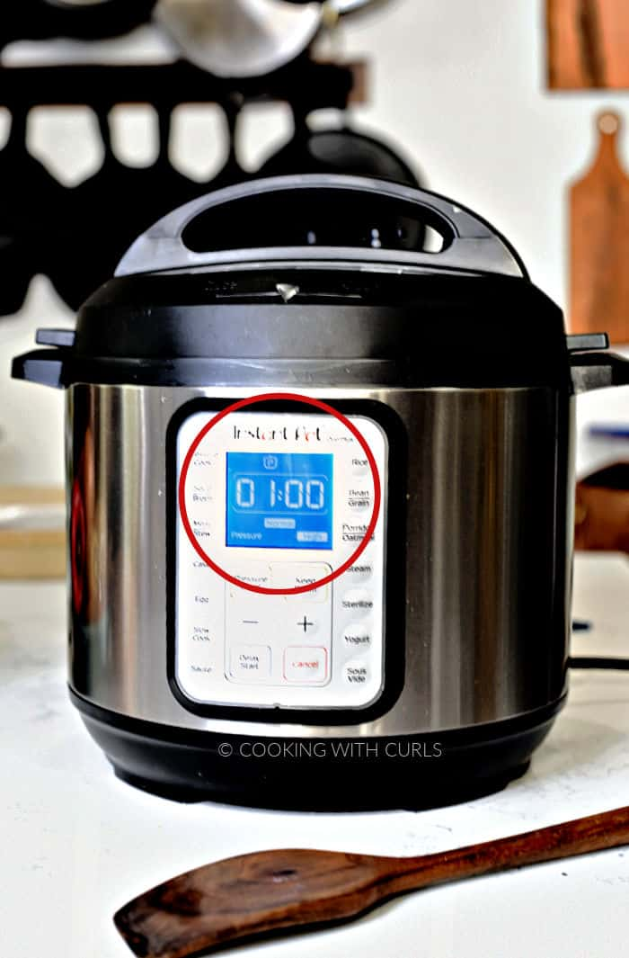 Instant Pot set for one hour on High Pressure.