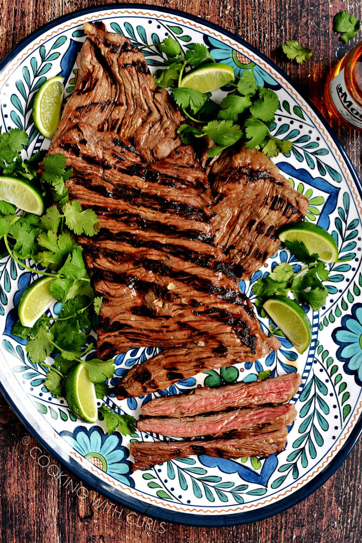 Marinated Carne Asada on a platter.