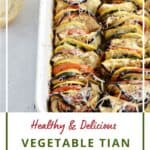 Zucchini, squash, tomatoes and eggplant slices lined up in a white baking dish with title graphic across the bottom.