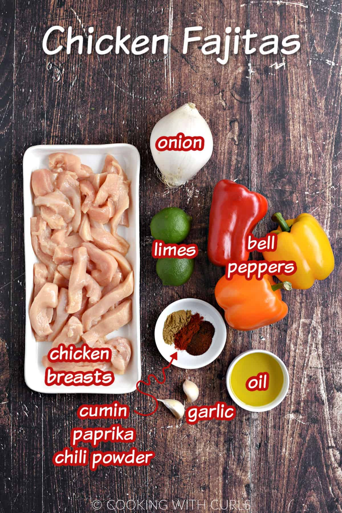 Chicken strips, white onion, two limes, two garlic cloves, olive oil,  three bell peppers, two limes, cumin, paprika, and chili powder.