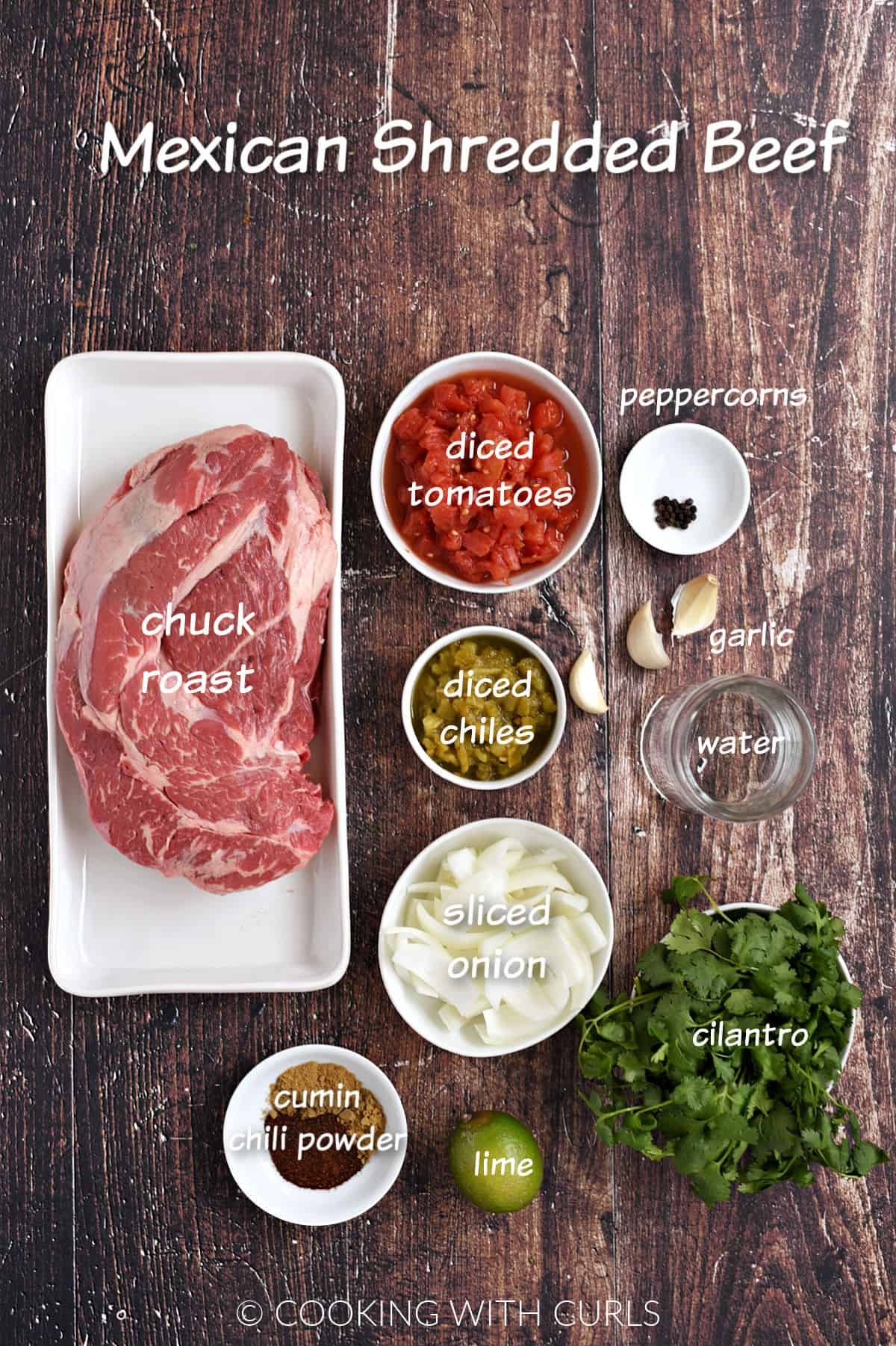 Ingredients to make Mexican Shredded Beef.