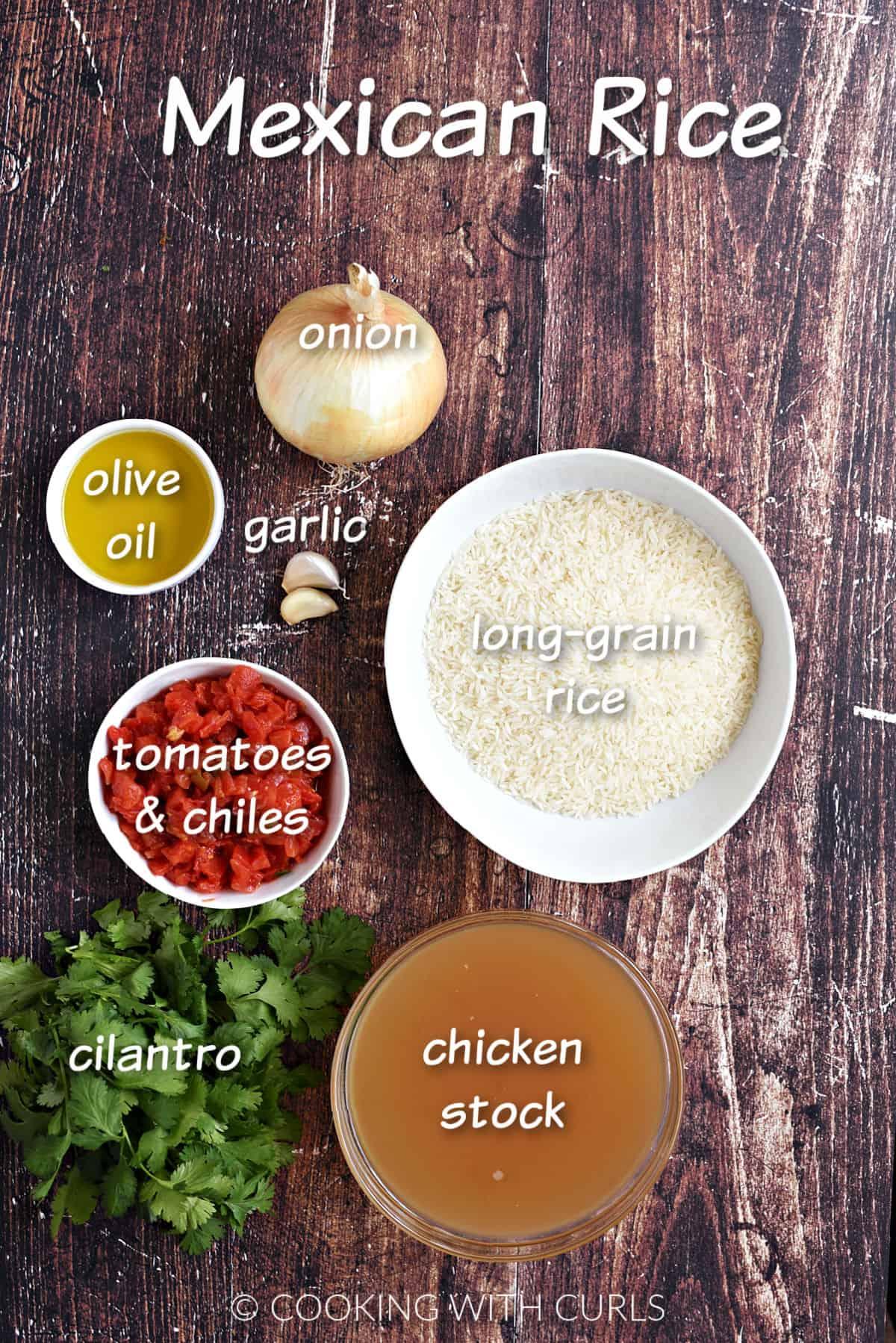 Rice, onion, garlic, oil, tomatoes, cilantro, and chicken stock.