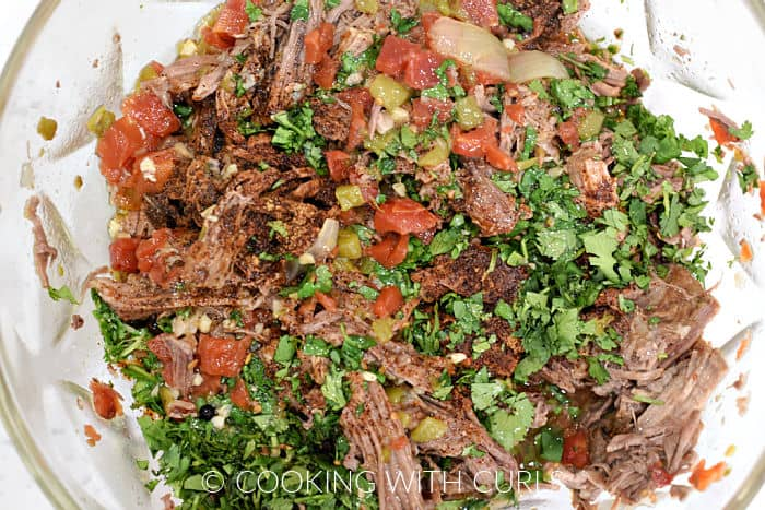 Shredded beef, tomatoes, seasonings, cilantro, and tomatoes in a glass bowl.